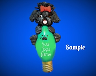 Black Shih Tzu Dog with Red Bow Christmas Holidays Light Bulb Ornament Sally's Bits of Clay OOAK PERSONALIZED FREE with dog's name