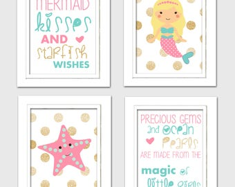 Mermaid nursery prints, mermaid nursery decor, mermaid nursery art, pink and aqua nursery