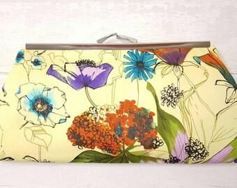 Wedding clutch bag, yellow clutch purse, flower design purse, evening clutch, summer handbag, evening clutch purse, red and purple clutch