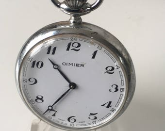 Vintage chrome CIMIER  Pocket Watch with R. Lapanouse S.A movement                       .