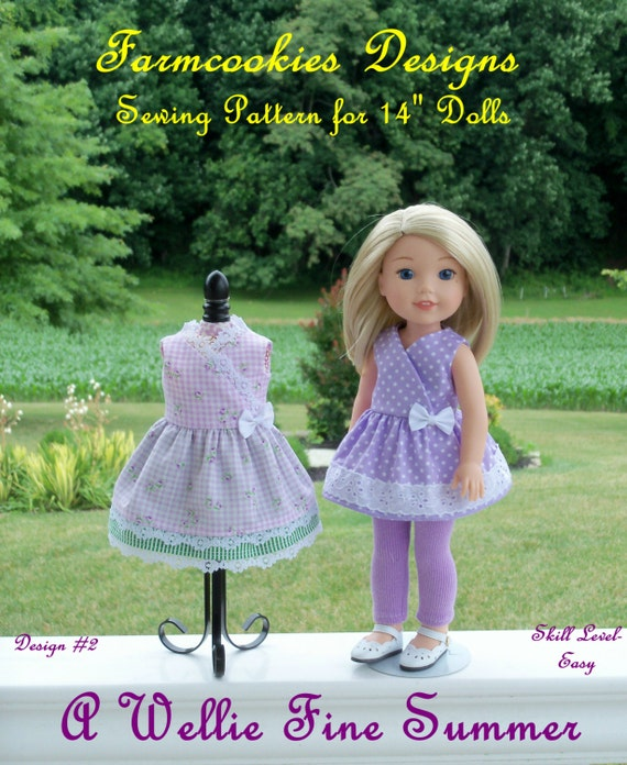"WELLIE WISHER® Size PDF Sewing Pattern: A Wellie Fine Summer! / Sewing Pattern Fits 14"" American Girl  Wellie Wishers®, Glitter Girls"
