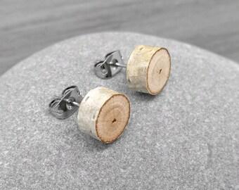 Bois de bouleau naturel bois boucles d'oreilles - tranche Post boucles d'oreilles - Boucles d'oreilles d'écorce de bouleau avec acier chirurgical