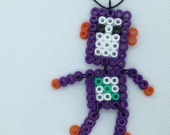 Cute Dangly Robot Pendant — PURPLE — Fuse Beads