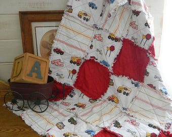 Handmade Little Boy's Rag Quilt Throw -  Red, White and Blue Cotton Quilted Rag Quilt Throw - Trucks and Signs - READY TO SHIP