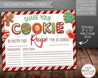 Cookie Recipe Sheet, Cookie Exchange Recipe, Christmas Cookie Party Recipe, Printable, Instant Download, Editable PDF #719 #720
