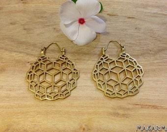 Beautiful Sacred Geometry Earrings Bohochic Ear Weights Earrings Tribal Brass Earrings Boho Bohemian Women Earrings Women Triangle Earrings