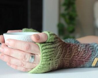 Seaglass Petal Mitts ~ Knit Fingerless gloves, Fingerless glove mittens, Long knit gloves, Boho knit glove mittens, Women's Fingerless Mitts