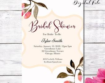 BRIDAL SHOWER Digital Invitation Blush, Pale, Pastel, Cream Pink Modern and Chic DIY Invite-Loveys Paperie Shop