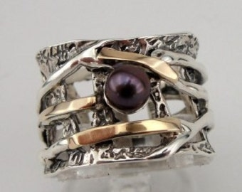 Stunning 9k Yellow Gold Silver Black Pearl Ring size 8 (s r1728