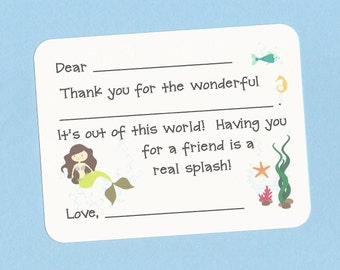 Mermaid Thank You Cards - Choose Your Mermaid -  Fill in the Blanks Cards, Girls Mermaid Party Cards, Mermaid Birthday Party Thank You Cards