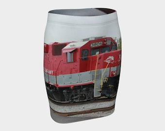 Red train fitted skirt