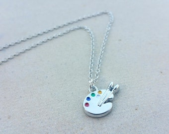 Silver Artist Palette Necklace, Artist Enamel Paint Necklace, Multicolor Necklace, Artist Paintbrush Gift, Painter Necklace Gift