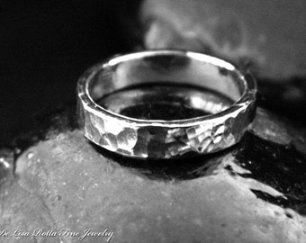 Recycled Pure Silver Hammered Wedding Band Ring