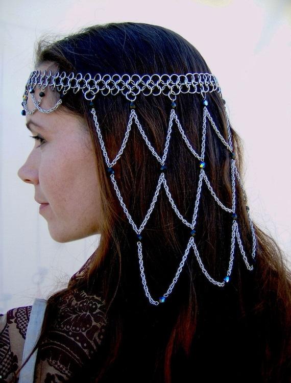 Items Similar To Chainmail Headdress Crown Tiara Jet Black