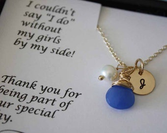 6 Bridesmaid Necklaces Personalized, Bridesmaid Gift, Initial & Gemstone Gold Necklaces, Thank You Card, Monogram Necklace