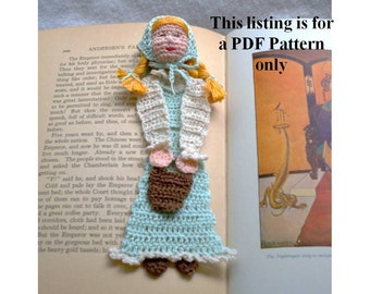 Jack and Jill, Jill with pail crochet bookmark DIY, thread crochet bookmark instructions, unique bookmark pattern, stocking stuffer diy,
