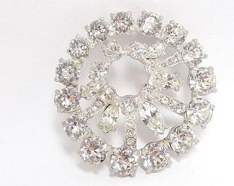 Large Clear Sparkling Eisenberg Brooch Pendant - Eisenberg Sew On Brooch - Eisenberg Jewelry - Wedding Jewelry - Eisenberg Pendant