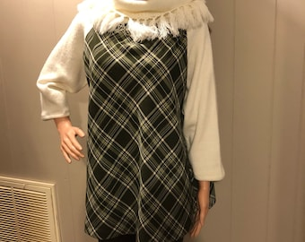 Upcycled Mixed Material Plaid Top  L