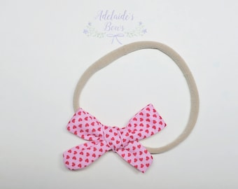 Hand knotted Be my Valentine Hair Bow