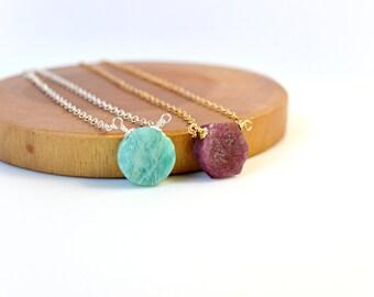 Geometric Gemstone Necklace, Raw Ruby Necklace, Amazonite Necklace, Circle Necklace, Hexagon Necklace, Rough Gemstone Necklace, Your Choice