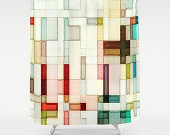 Shower Curtain, Watercolor Bathroom, Pink Shower Curtain, Art Shower Curtain, Pink Bathroom Decor, Abstract Art Bath, Watercolor Bath