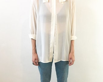 80's detailed collar Polyester Blouse