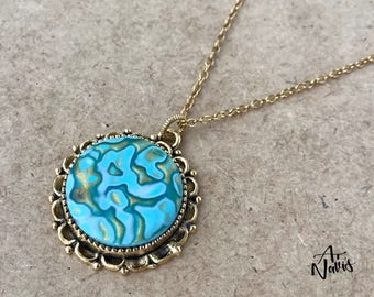 Handcrafted Gold Pendant Necklace // One of a Kind Polymer Clay Pendant // Perfect Handmade Gift for Women // Birthday Gift // Gift for Her