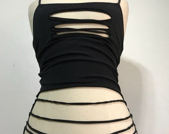 Black Shredded Rave/Music Festival Tank Top with spaghetti straps sizes M, L, XL, 2X, 3X