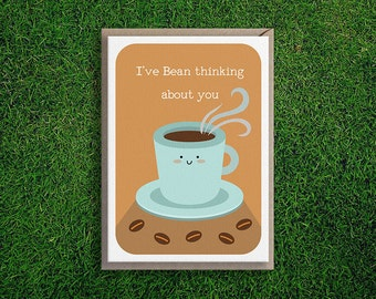 Greeting Cards | Bean Thinking of You Card Missing you Anniversary Flirty Cute & Quirky Silly Pun Coffee Bean Card Boyfriend Girlfriend Wife