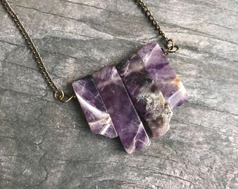 Amethyst Necklace, Amethyst Bar Necklace, February Birthstone, Bohemian Jewelry, Amethyst Pendant