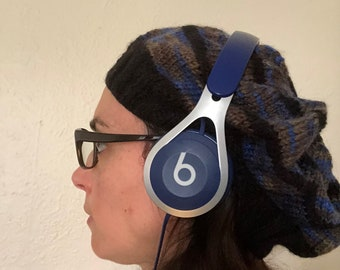 Headphone Beanie - Black/Blue Multi-Coloured