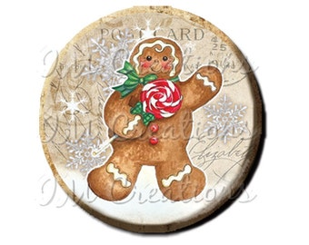 LIQUIDATION SALE! Vintage Christmas Gingerbread Man Pocket Mirror, Magnet or Pin 2.25""