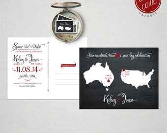 Destination wedding invitation Black  Chalkboard Two Countries, Two Hearts Save the Date Postcard bilingual DEPOSIT PAYMENT