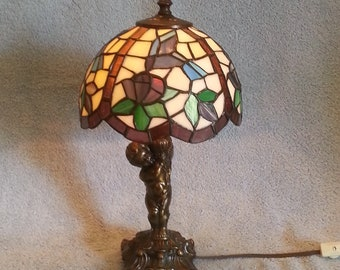 Stained Glass Lamp - Hummingbird Theme - Floral