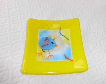 Fused Glass Easter Plate, Yellow Spring Dish, Fused Glass Dish, Candy Dish, Pillar Candle Holder, Trinket Tray, Chicken and Egg