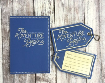 Passport Cover Luggage Tag Set- The Adventure Begins travel gift - Faux leather - Passport Case Accessory - Graduation Wedding Adventurer
