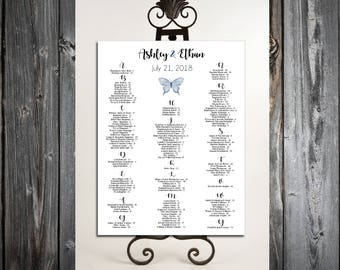 Butterfly Seating Chart for Table Assignments for your Wedding Reception - Printable PDF File