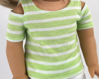 18 Inch American Made Doll Clothes | Open Shoulder Mint Stripe TOP for 18 Inch Doll