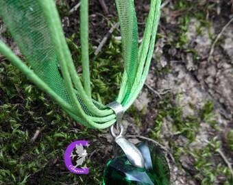 Fern Green swarovski crystal heart pendant