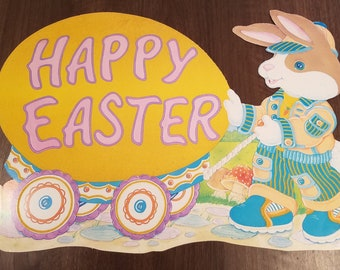 Vintage Easter Die Cuts // Set of 3 // Felted Die Cut // Spring Decor // Easter Bunny // Holiday Banner // Easter Decor