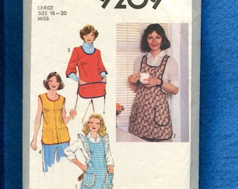 Vintage 1980's Simplicity 9209 Smocks Aprons Sizes LARGE 18/20