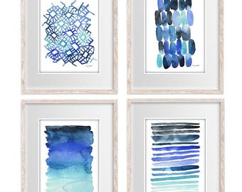 Abstract prints Set of 4, Blue and Turquoise Watercolor Painting, Stripes Home Decore Wall Decor