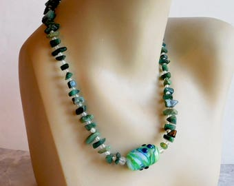 Spinach Jade Beaded Necklace w/ Lampwork Focal Bead - Handmade by Amelia - Large Green-Swirl Glass Bead - 19-Inch Necklace - Hippie Boho