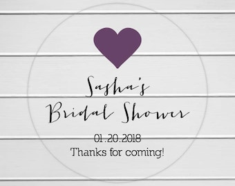 Transparent Bridal Shower Stickers, Bridal Shower Labels, Clear Shower Stickers (#031-C)