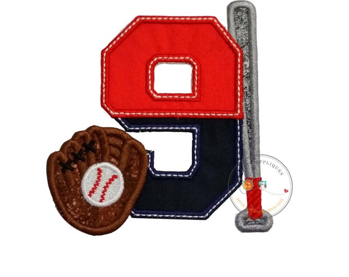 Two tone baseball theme birthday number 9 iron on applique, Embroidered fabric iron on baseball birthday patch, sport birthday number nine,