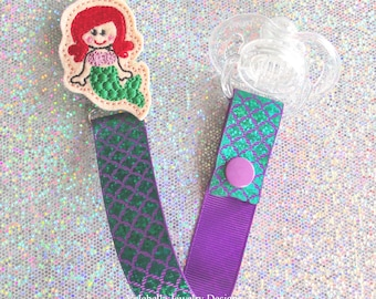 Pacifier Clip The Little Mermaid fish scale Paci Soother Mam Dummy Nook Binky Holder toy Keeper new baby girl shower gift LOOP OR SNAP