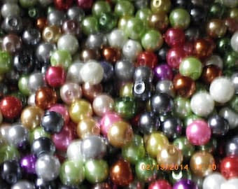lot of 300 beads 8 mm glass Pearl in mixed colors 8 mm