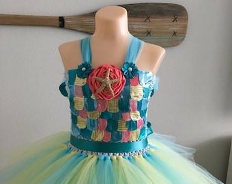 Starfish dress/ mermaid tutu/ rainbow fish costume / under the sea tutu/ beach wedding/ beach flower girl dress/ coral tutu/ ocean wedding & Rainbow fish costume | Etsy