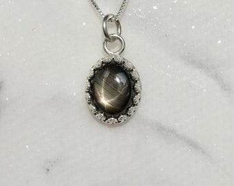 Black star sapphire sterling silver necklace, sapphire necklace, black star sapphire jewelry, black solitaire necklace, sapphire pendant