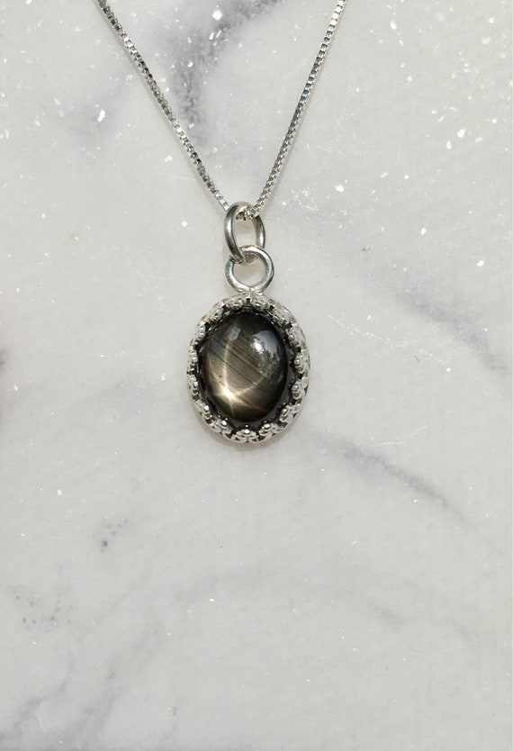 Black star sapphire sterling silver necklace sapphire like this item aloadofball Choice Image